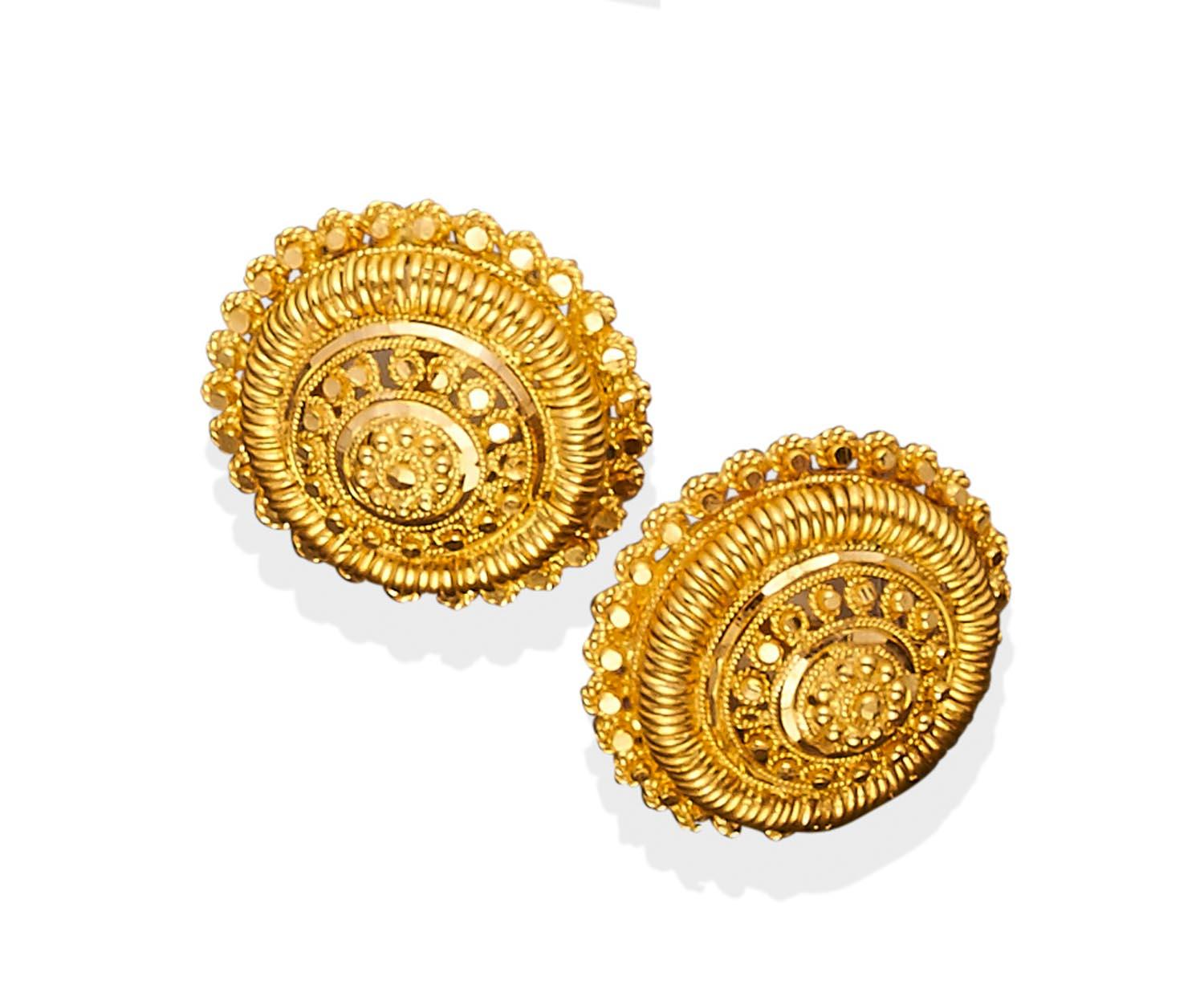 Lot 144 Of 298 A Pair Indian Gold Earrings Circular Stepped Design 22ct Yellow Weight 15 37 Grams Diameter 25mm Threaded Post Attachments