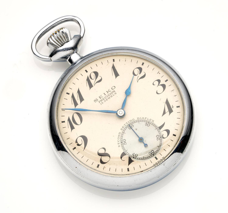 A Gentleman's chrome openface pocket watch, Seiko  Crown