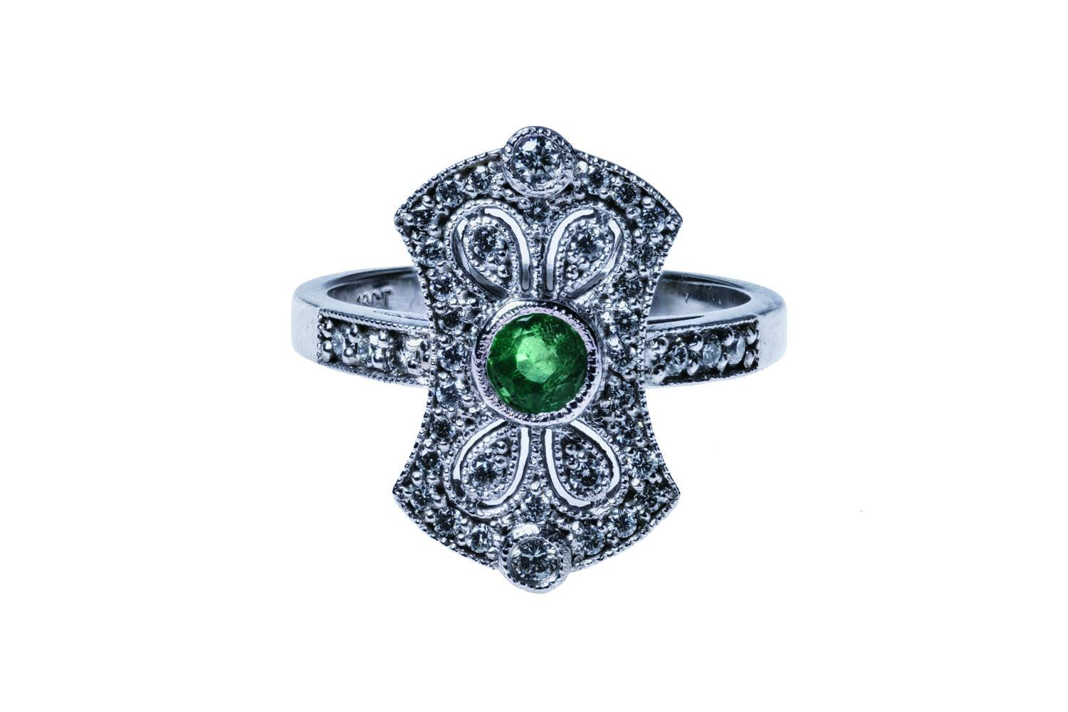 a and round cut diamond brilliant emerald sku ring green