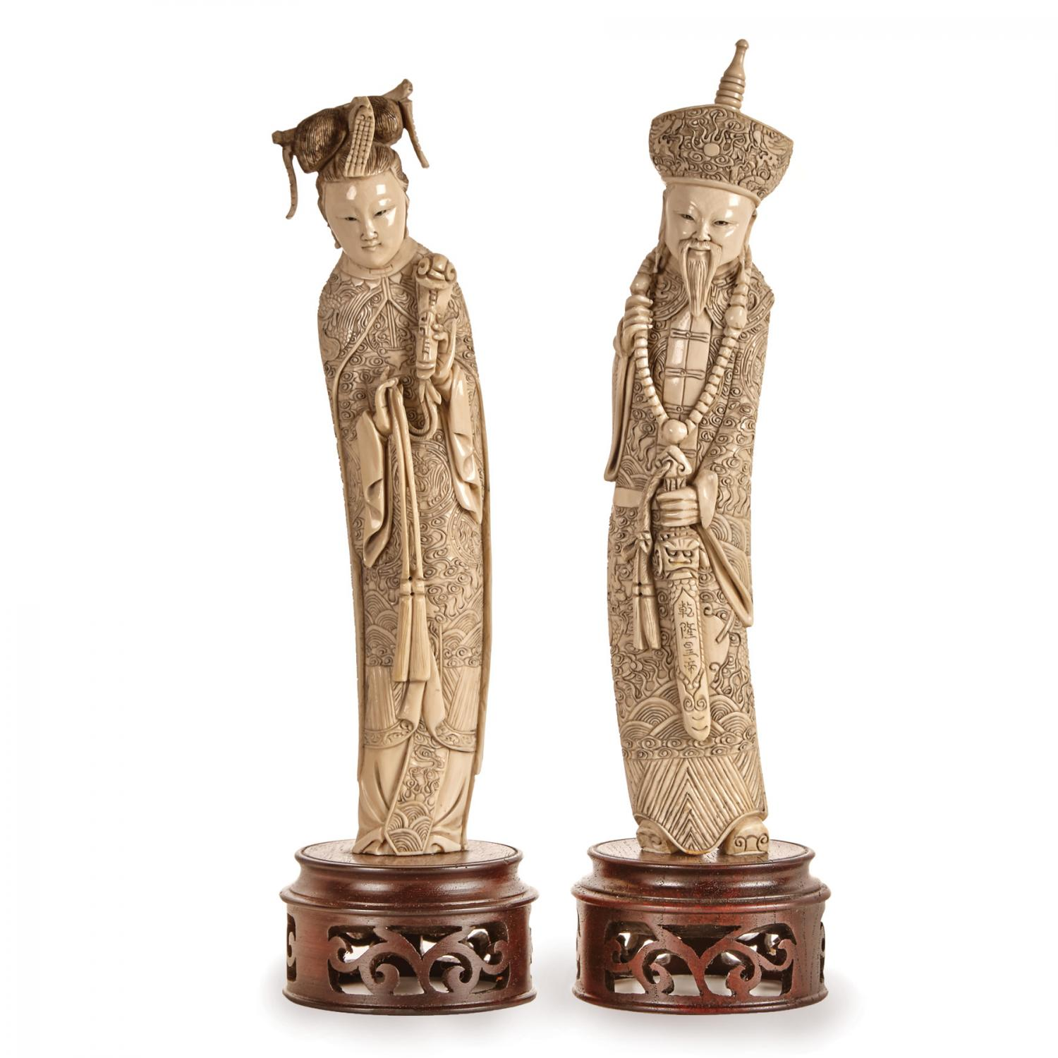 A Pair Of Chinese Ivory Figures Of Emperor And Empress Price