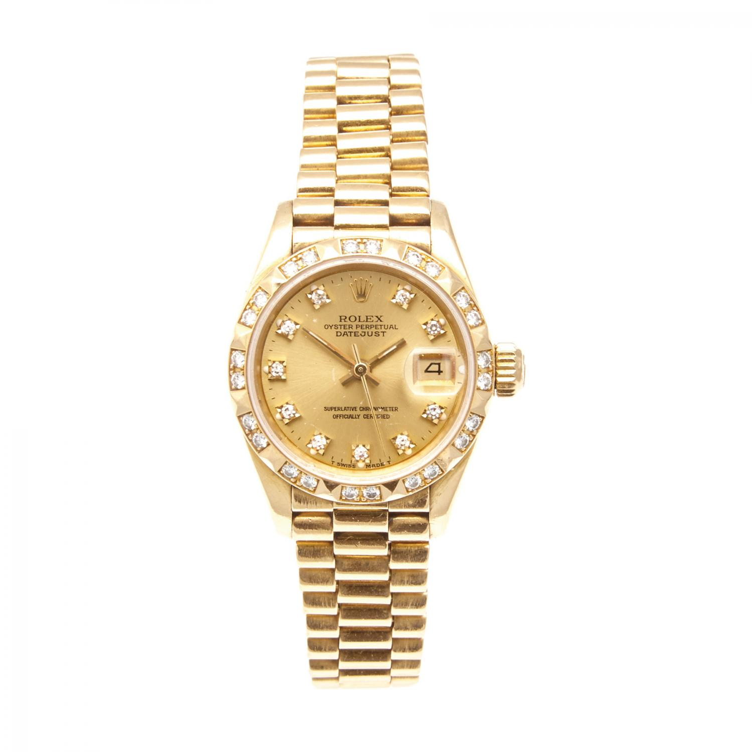 0788fb007ce Lot 616 of 170: A Gold and Diamond Rolex Oyster Perpetual Datejust  Wristwatch