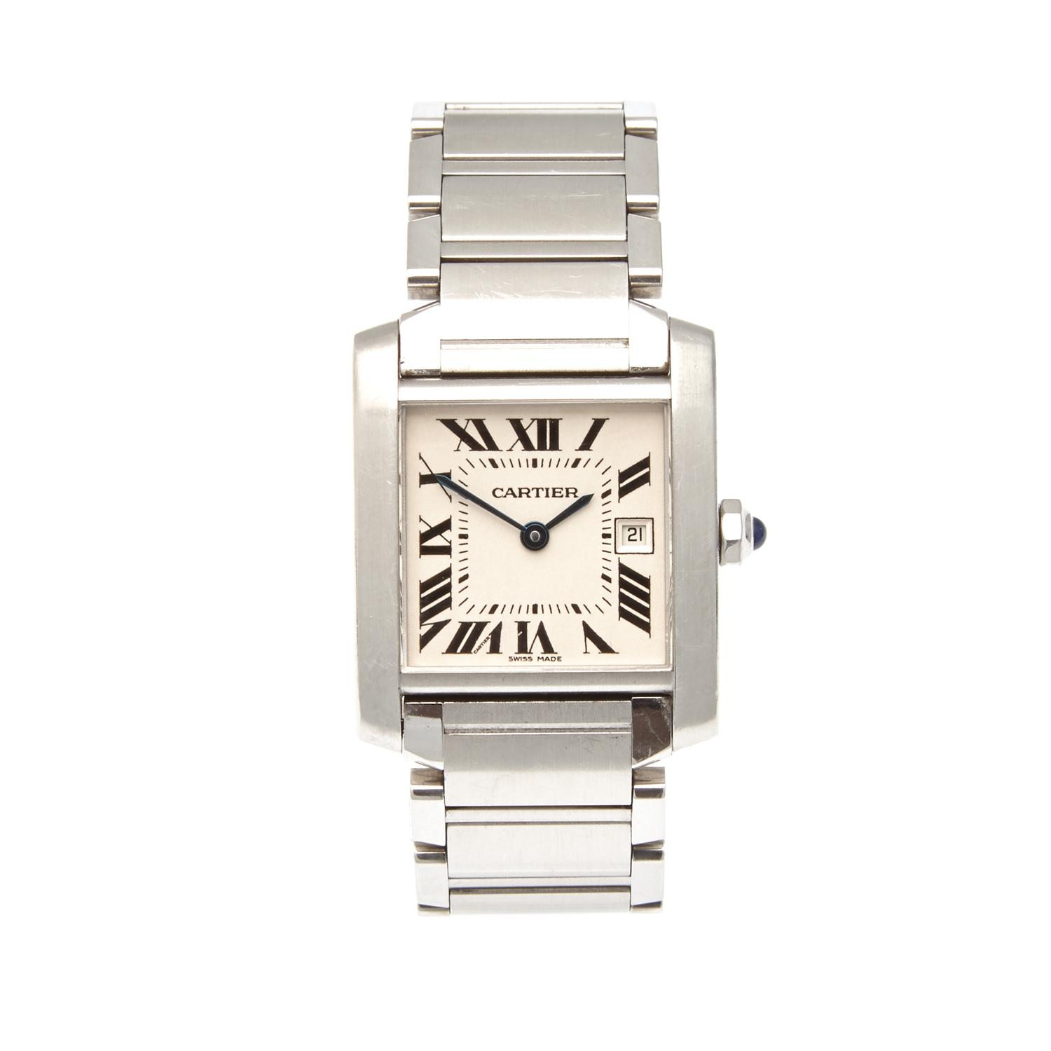f77bd8377aa A Stainless Steel Cartier Tank Wristwatch - Price Estimate   1500 ...