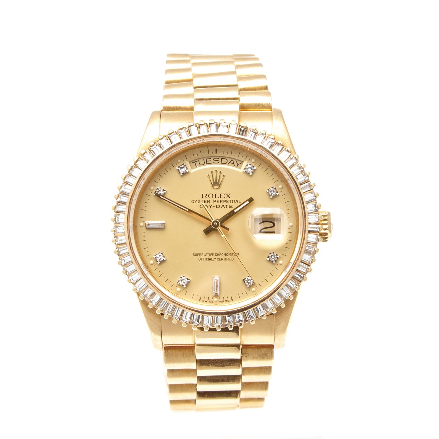 ea8e7c86a70 Lot 614 of 170: A Gold and Diamond Rolex Oyster Perpetual Day-Date  Wristwatch