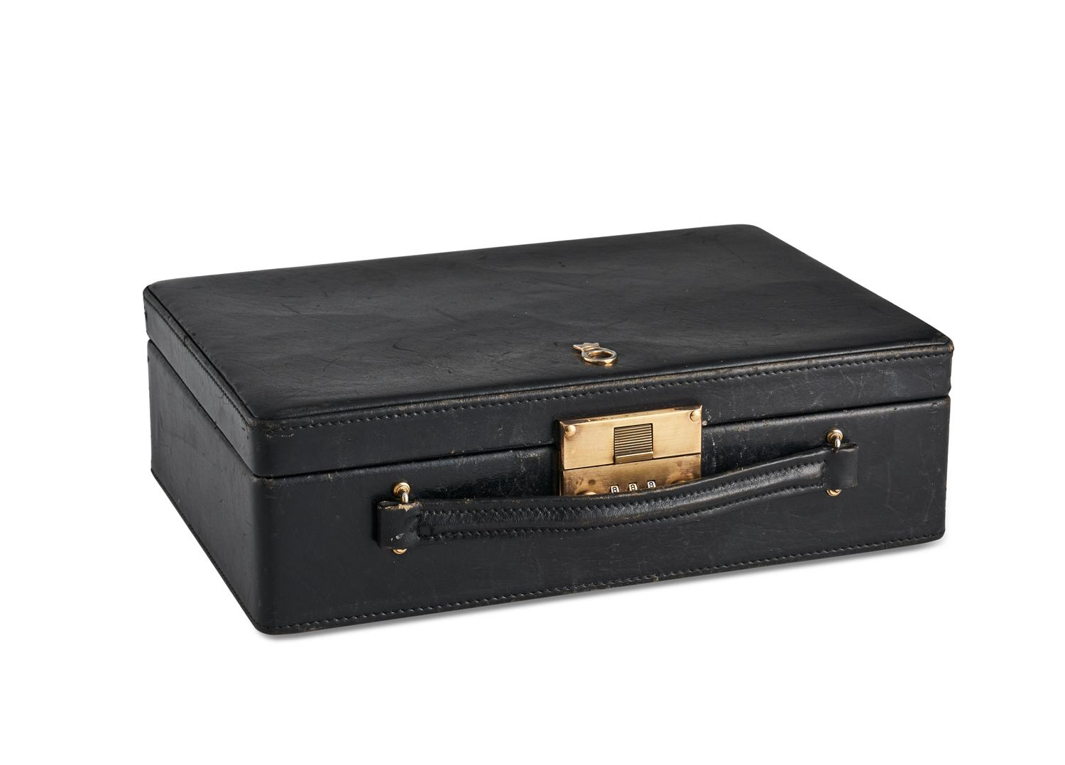 A Black Leather Travel Jewellery Box And A Crocodile Leather