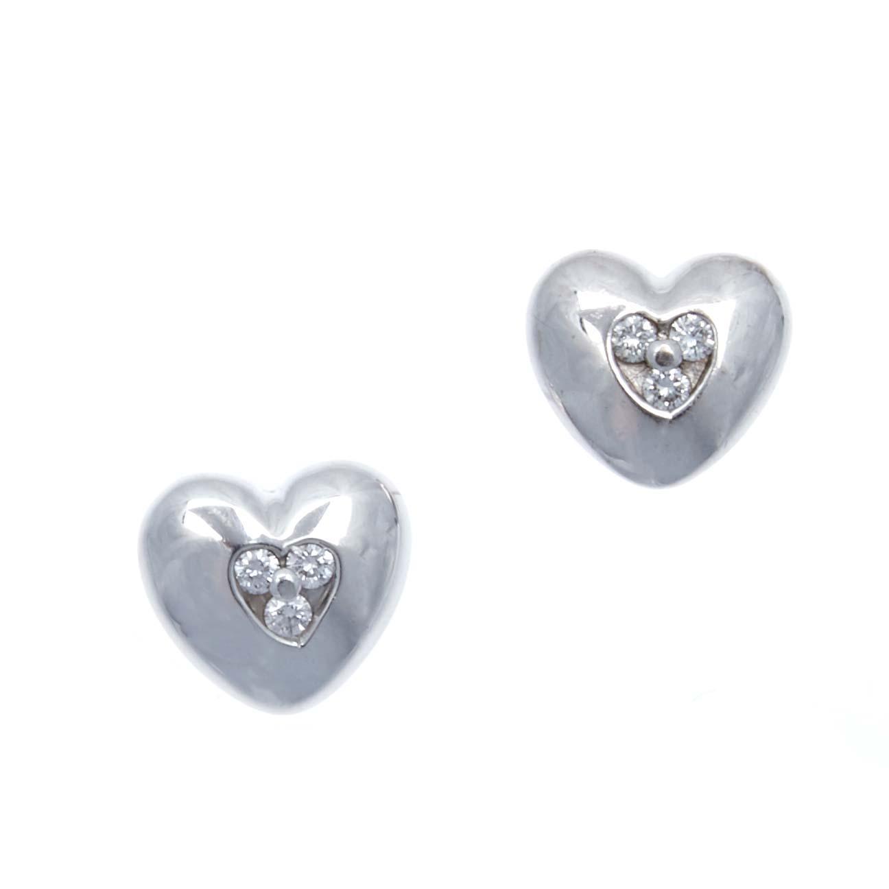 18ct Tiffany Co Diamond Heart Earrings Price Estimate 750