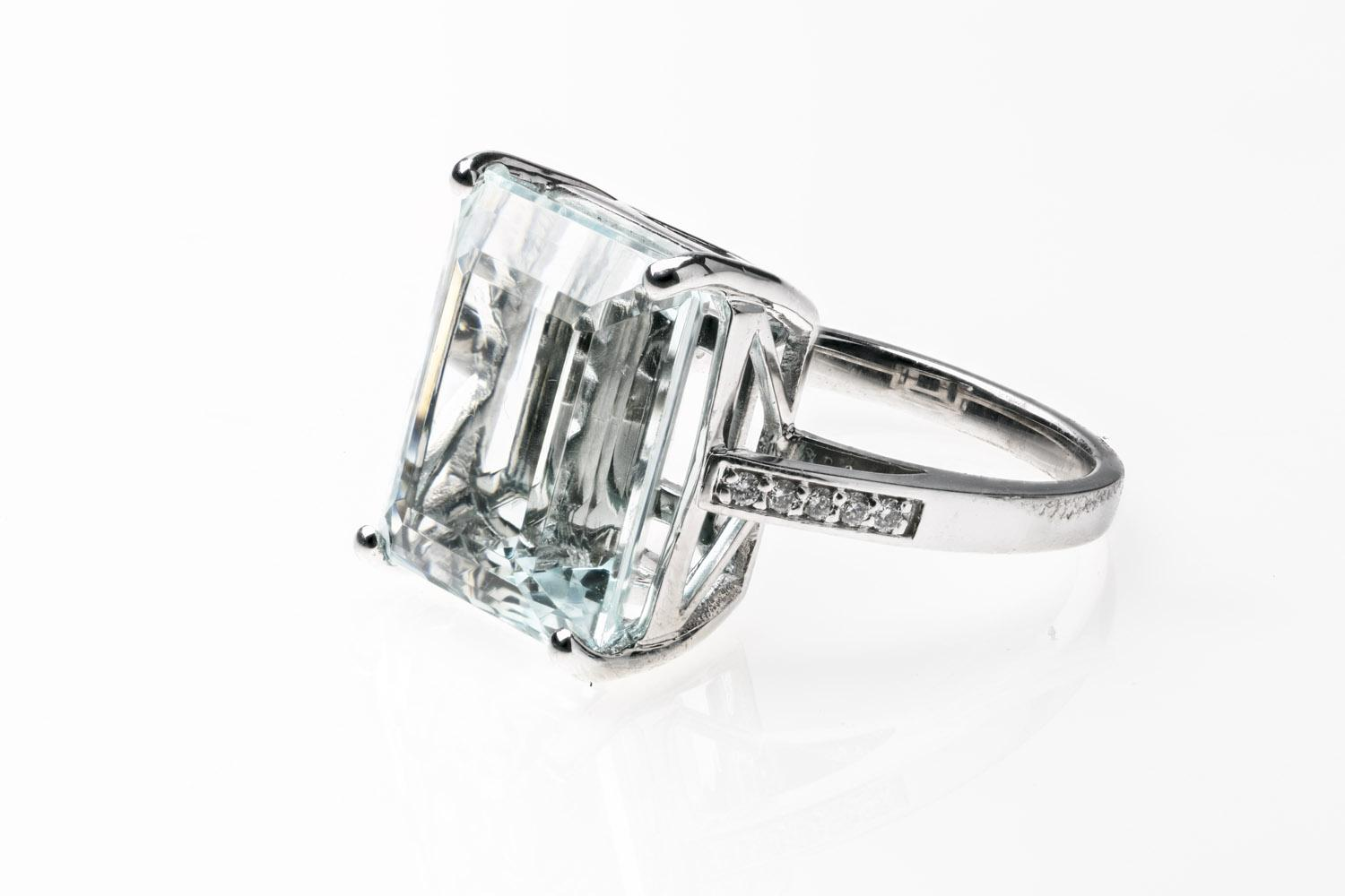 847e0dc45cf Lot 60 of 248: An aquamarine and diamond ring, four claw set with a  rectangular step cut aquamarine of known weight 13.38 carats, five small brilliant  cut ...