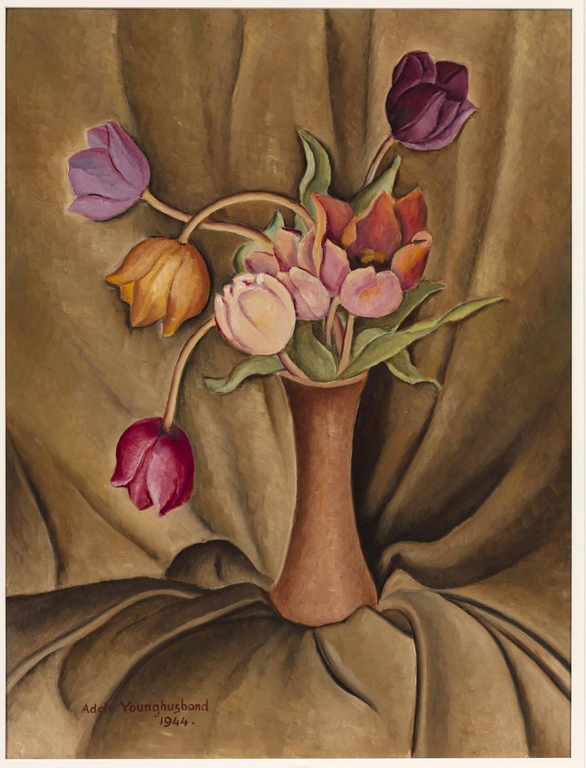 Adele Younghusband Still Life With Tulips And Drapery Price Estimate 3000 4000